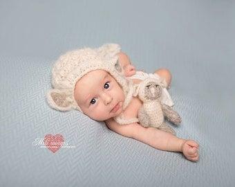 newborn lamb hat bonnet mohair lamb set lamb teddy photo prop