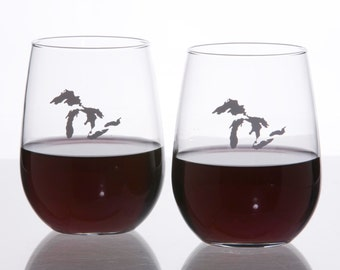 Michigan Stemless Wine Glasses Set of 2 glassware with state sandblasted 17 oz. capacity each