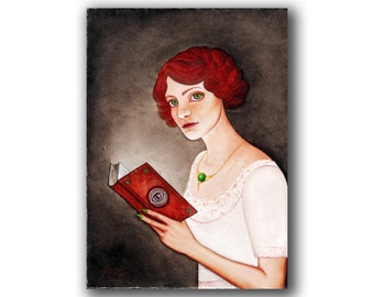 "Print / Pop Surrealism Art / Limited Edition Art Print / Gloss Paper Print ""Book of Secrets"" by Natalia Prutski"