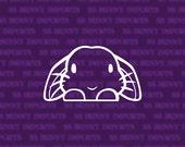Peering cute lop bunny decal; rabbit laptop sticker / car sticker / phone sticker, glossy white