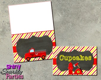 FIRETRUCK FOOD LABELS - Firetruck Party Food Labels - Firetruck Birthday Food Tents - Firefighter Food Signs - Buffet Signs Instant Download