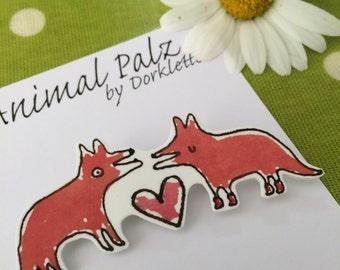 Fox Love Brooch
