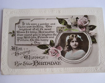 1920 hand coloured birthday postcard with a young girl