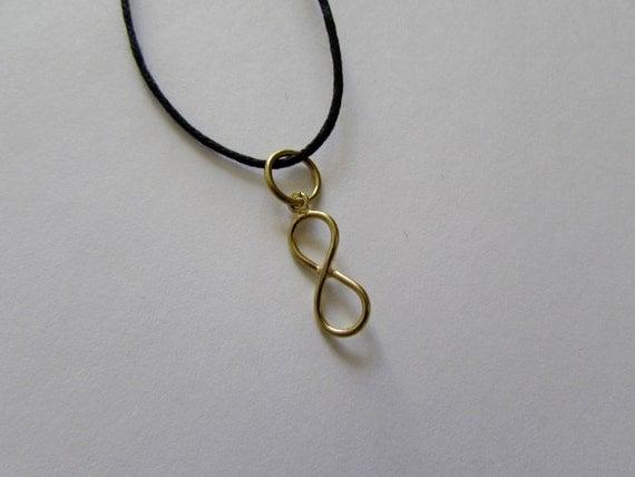 Infinity Charm Brass Simple Minimalist On Wax Cord Adjustable Free UK Shipping + Gift Bag
