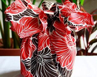 Hawaiian Kleenex box tissue case, Brown ,Red,Hawaiian fabric, Hibiscus,HNLS02351