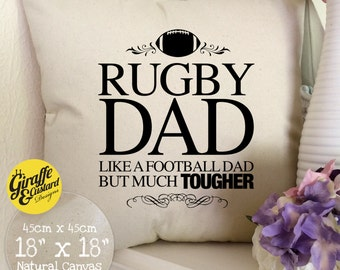 FATHERS DAY Rugby Dad Large Cotton Canvas Cushion Cover