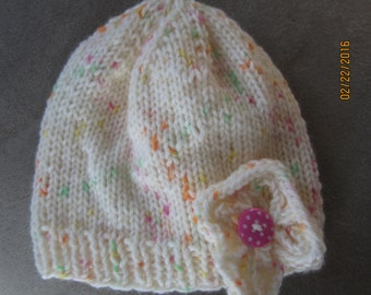 Newborn cream with colored flecks acrylic Beanie hat ribbed edge  0-1 mos
