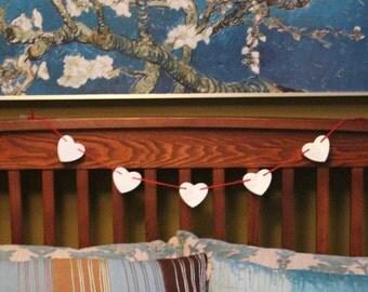White Clay Heart Garland Love Valentines
