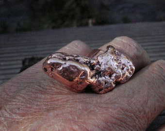 Snake Head Copper Nugget Ring.  20gm.