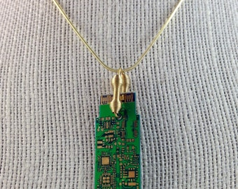 Elegant Green & Gold Circuit Board Pendant with Gold Plated Chain - Techie Necklace