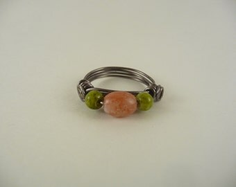 glass bead wire wrapped ring