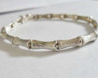 Vintage Sterling Silver Tree Branch Bark Inspired Bracelet Whimsical Design Unique - SALE
