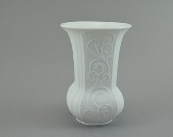 Vintage bisque porcelain vase white by AK Kaiser, design M. Frey, West Germany, 70s