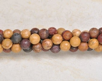 """Natural Picasso Jasper 8 mm faceted round bead 15"""" strand (#J1081)"""