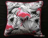 Flamingoes cushion cover. Handmade.