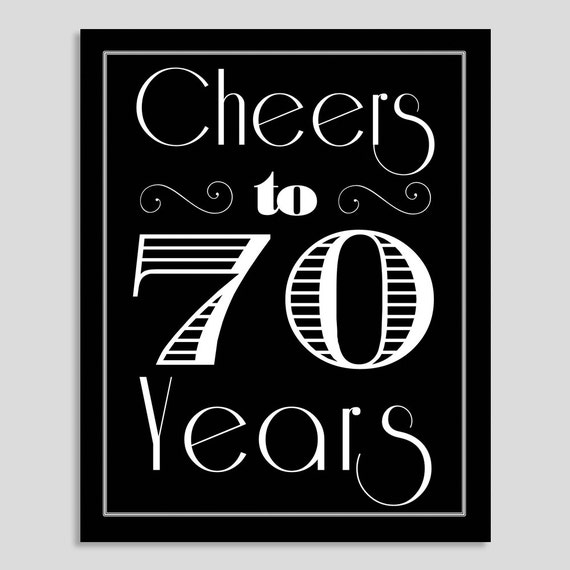 Wedding Gifts For 70 Year Olds : Cheers to 70 Years, 70th Birthday, 70th Birthday Party, 70th Birthday ...