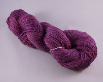 Hand dyed Merino Superwash yarn, sock weight, 100g, semi-solid, PLUM, purple