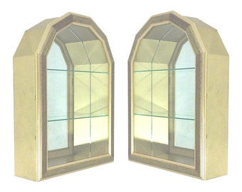 Gilded Mirrored Wall Curio Cabinets-Pair