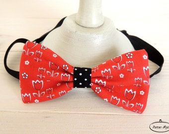 Men's Papillon red-bow tie with flowers-baby bow tie-Valentine's Day gift-boyfriend Gift