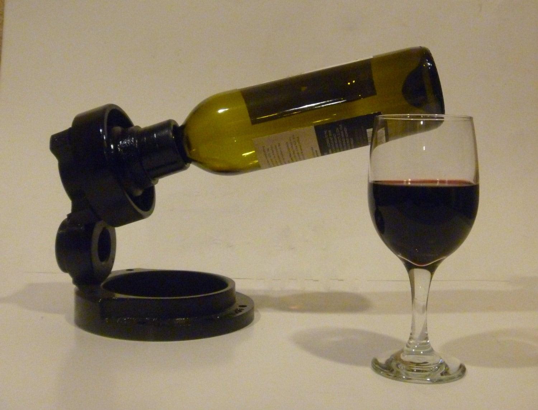 Large Balancing Reclaimed Metal Wine Bottle Holder