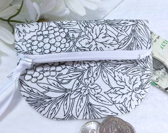 Grapes & Leaves Coin Purse, Woman's Small Wallet, Secure Zipped Closure, Magnetic Snap, Fold Over Change Purse, Small Zipper Pouch