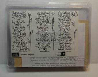 Stampin' Up! SIDEKICK SAYINGS, New Set of 3 Rubber Stamps - Happiness, Love, Christmas, Inspirational