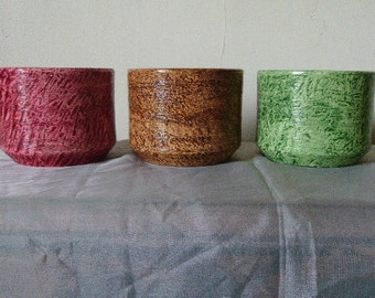 Vinegar painted flowerpot trio