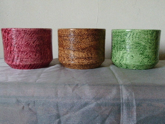 Vinegar painted flowerpot trio
