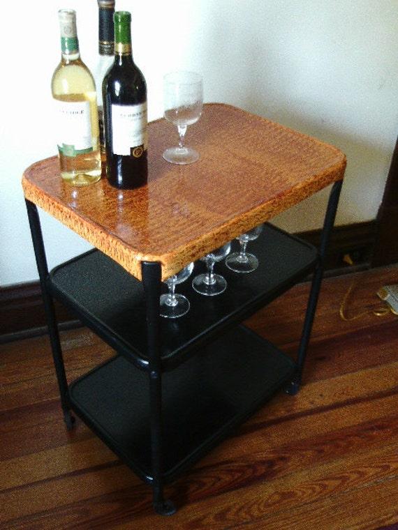 Rolling beverage cart vinegar painted in Biedermeier style