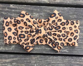 Cheetah bow turban; oversized bow; cheetah headwrap