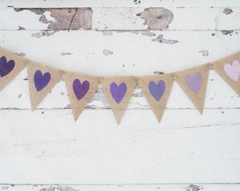 Purple Hearts Banner,  Violet Party Decoration, Wedding or Bridal Shower Garland, B339