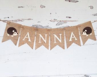 Hedgehog Banner, Hedgehog Woodland Banner, Personalized Hedgehog Banner, Woodland Nursery Decor, Woodland Baby Shower, B286