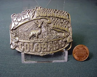 Vintage Old Collectible * Belt Buckle * Colorado Rocky Mountains