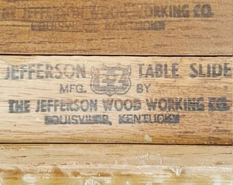 Vintage Jefferson Table Slide -DIY Sliding Expanding Table. Wooden Table Slide.