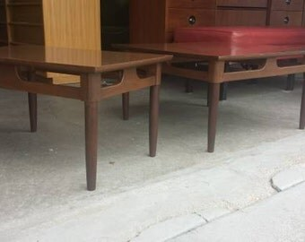 Vintage 1960's Modern Coffee & End Table Matching Set Mid Century Laminate Over Layered Plywood Long Tapered Wood Legs