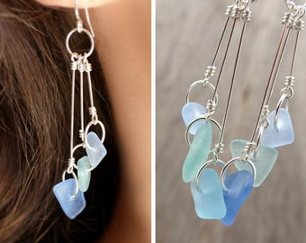 Sea glass earrings, genuine sea glass, sterling silver, sea foam blue green beach glass, long dangle earrings, upcycled eco friendly jewelry