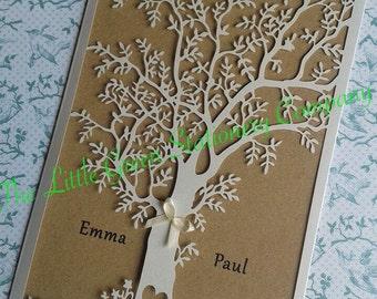 Sample white lasercut tree country/woodland/rustic wedding invitation