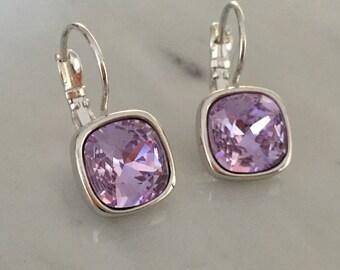Swarovski Violet Crystal Cushion Cut Earrings, Silver