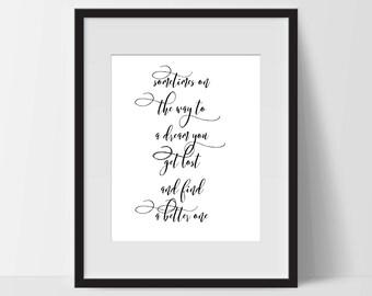 Motivational Print Art, Dream Get Lost, Motivation Printable, Digital Art Print, Typography Print, Instant Download, Modern, Black