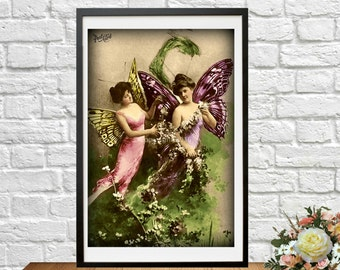 Fairy Printable French Two Fairies Postcard Butterfly Ephemera Photograph Instant Download Art Nouveau Woman Altered Art Vintage Digital