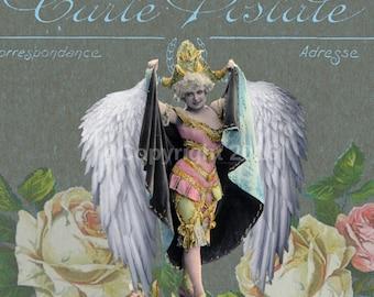 Angel Postcard Victorian Ephemera Vintage Original  Printable Digital Collage Print Altered Art Scrapbook Page Vintage Instant Downl
