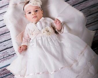 Baptism dress Christening Gown-Blessing Gown-Christening Dress-Naming Ceremony Dress-Antique White Cotton Vintage Christening Dress