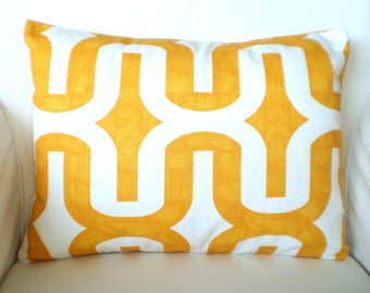READY TO SHIP Yellow Pillow Covers, Decorative Throw Pillows, Cushions, Corn Yellow White Embrace, Couch Bed Pillow, One 12 x 16