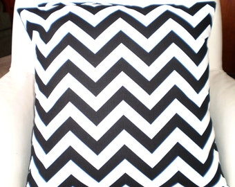 Black Chevron Pillow Covers, Decorative Throw Pillows, Cushion Covers, Pillows for Couch, Black White Zig Zag, One or More All Sizes
