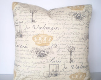 Gray Cream French Script Throw Pillow Cover Cushions Gray Gold Cream French Script Paris Gold Crown Shabby Chic Pillow 12 x 16 or 12 x 18