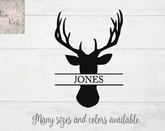Deer name Decal, Hunter Name Decal, Antler Name Decal, Hunting Name Decal, Hunting Family Wall Decor, Deer Silhouette, Buck Decal