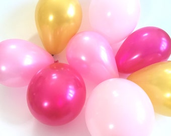 Mini Balloons (16) - Gold and Pink Ombre Mix - Party Supplies / Pink and Gold Balloons / Gold and Pink Balloons