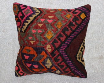 Anatolian Pillow Case,Decorative Pillow,Home Decor Turkish pillow,Area Pillow,Vintage Kilim Pillow,Boho pillow,16 x16 inch,40 x 40 cm