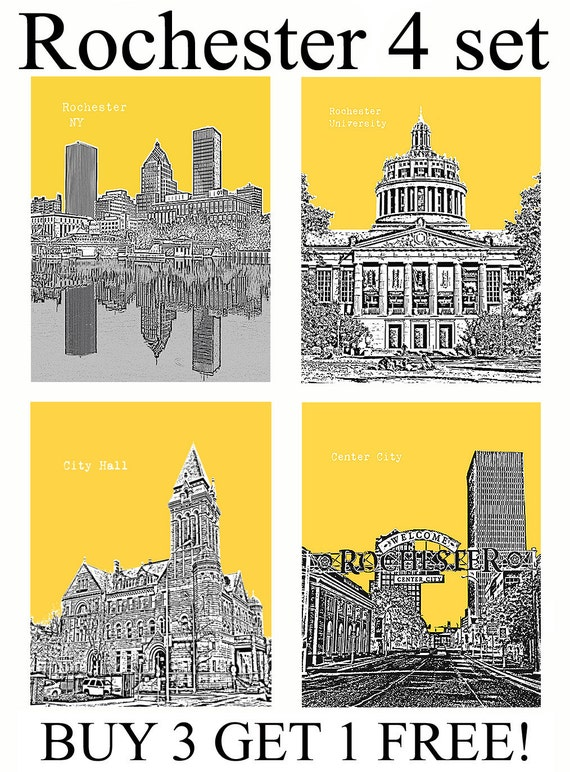 4 Set Rochester Ny City Skyline Art Prints Wall Decor For Home