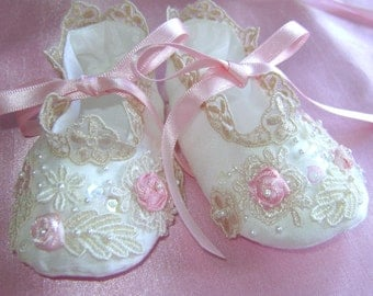 """Beautiful Silk & Lace Hand Embroidered """"Helen"""" shoes"""